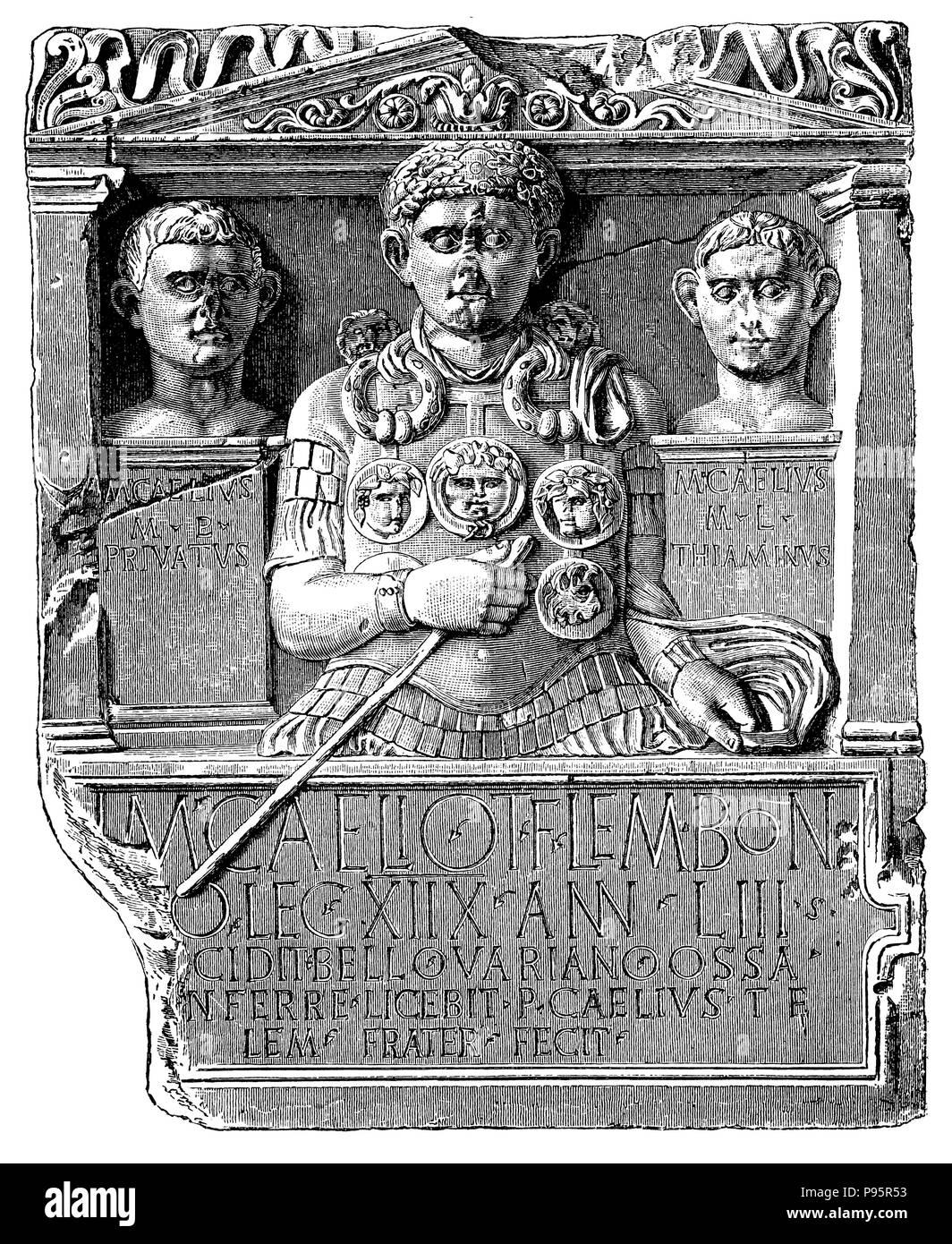 Memorial stone of Manius Caelius, fallen in Varus battle,   1899 - Stock Image