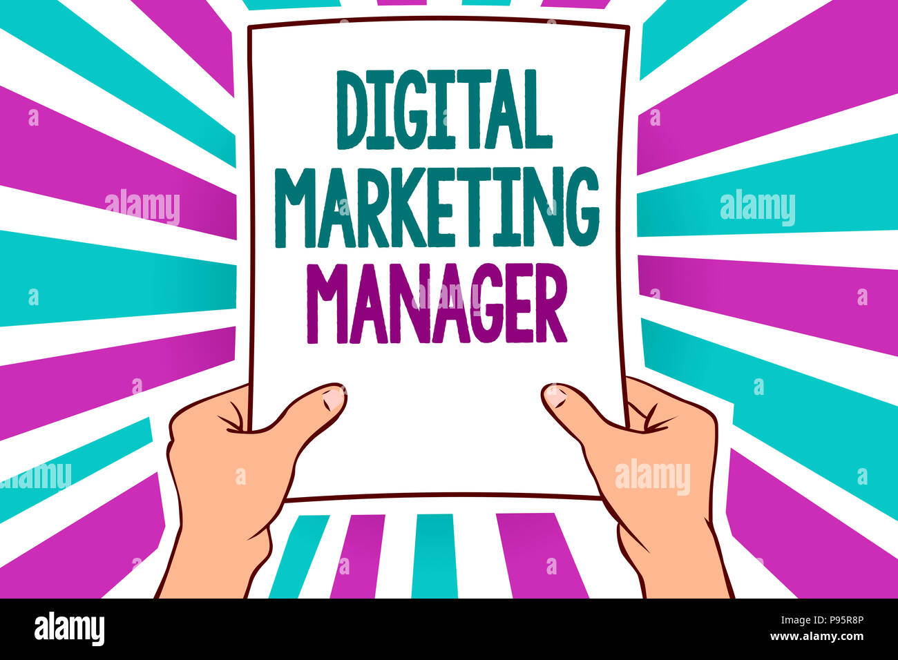 Word writing text Digital Marketing Manager. Business concept for optimized for posting in online boards or careers Man holding paper important messag - Stock Image