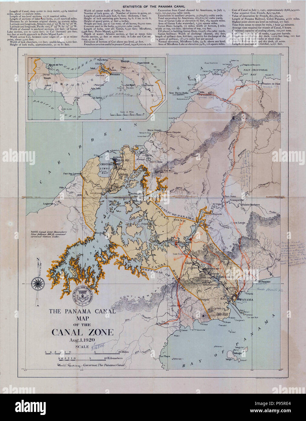 Map Of The Panama Canal Zone 1920 Stock Photo 212184508 Alamy
