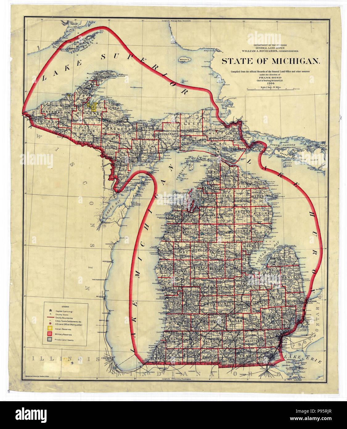 Vintage Michigan Map Stock Photos Vintage Michigan Map Stock