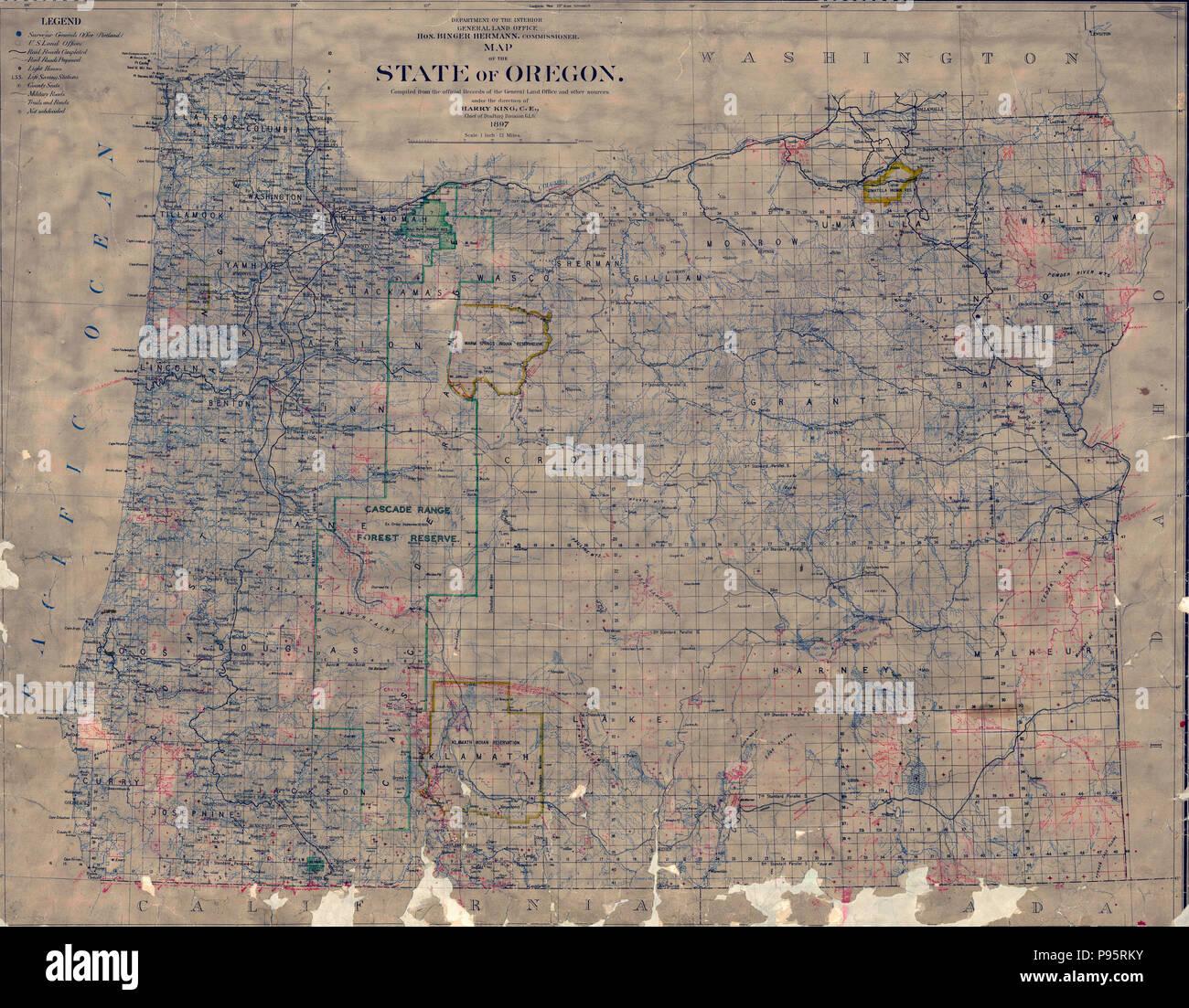 Vintage Oregon Map.Vintage Oregon Map Stock Photos Vintage Oregon Map Stock Images