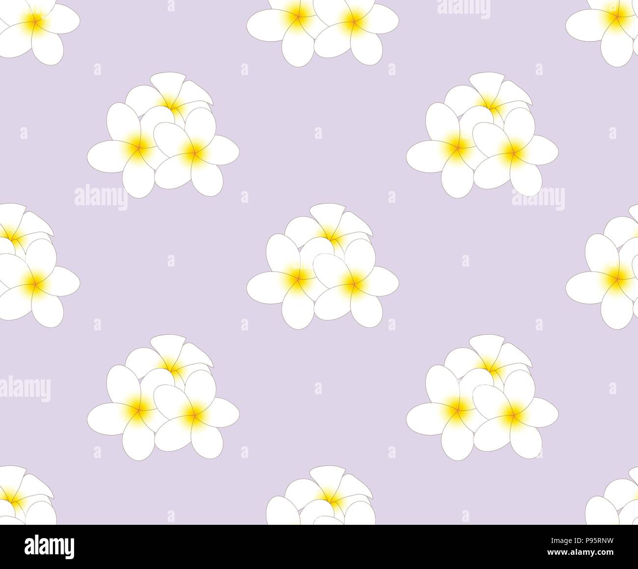 Plumeria, Frangipani Seamless on Purple Background. Vector Illustration. - Stock Vector