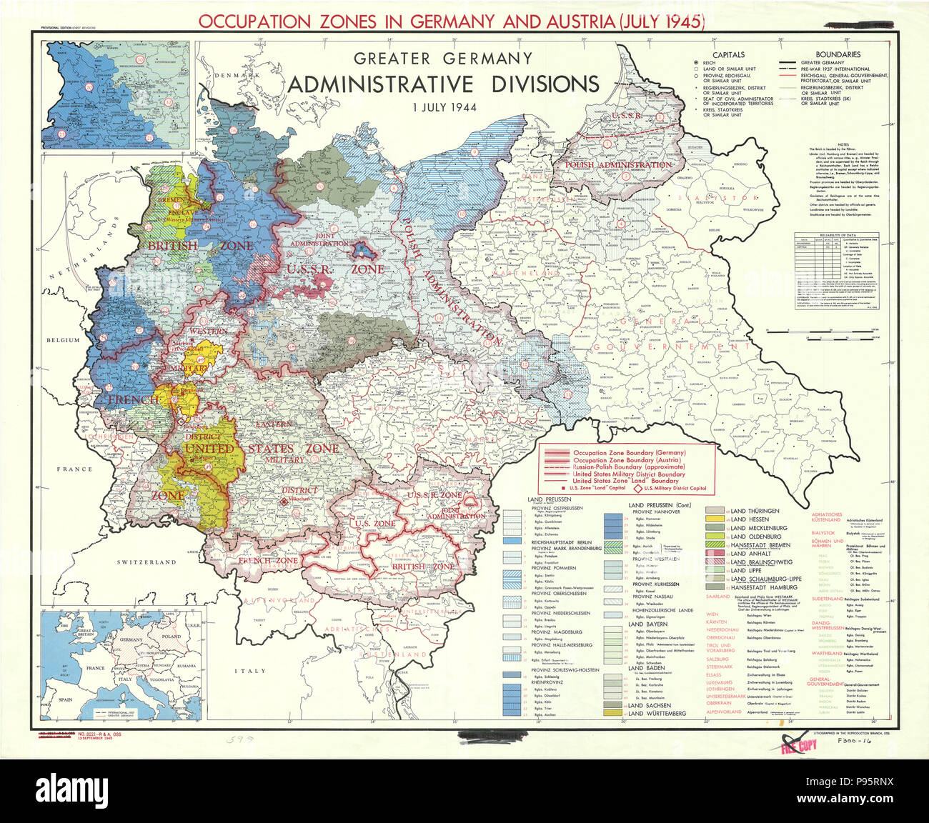 Map Showing Occupation Zones in Germany and Austria - July ...
