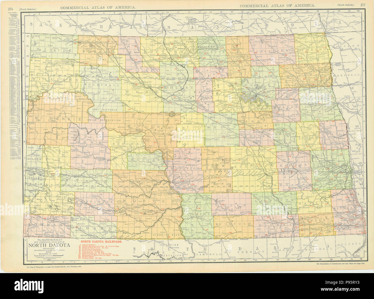 North Dakota 1913 Map Stock Photo: 212184871 - Alamy