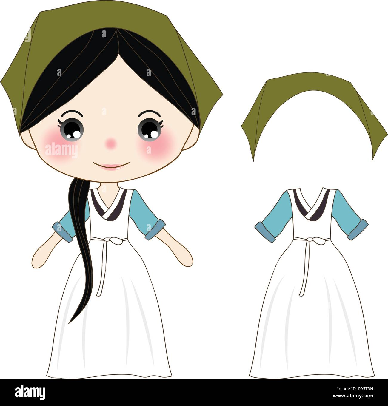 Cute Girl In Green Hanbok Korean Traditional Costume Vector Illustration Isolated On White