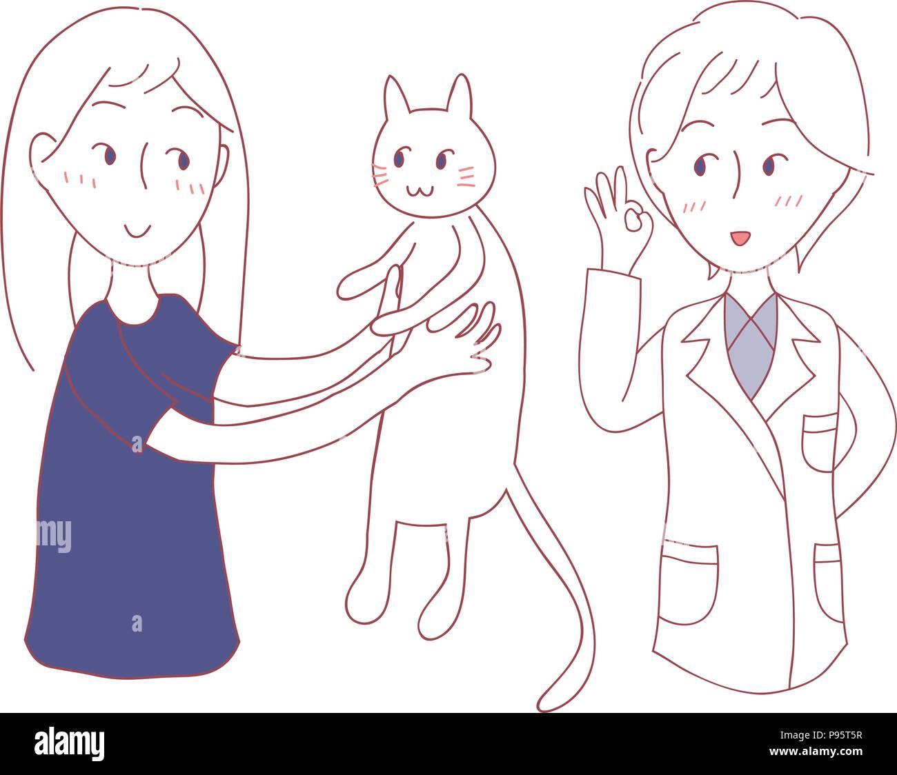 Girl bring Cat to meet Vet. Vector Illustration. isolated on White Background. - Stock Vector