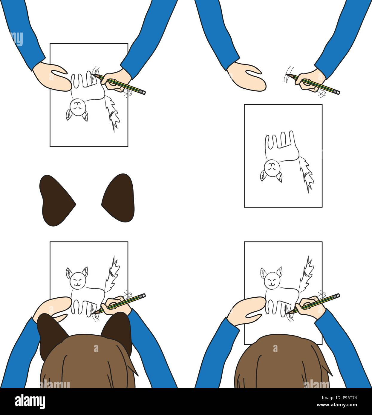 kid with cat ears drawing cat on white paper vector illustration