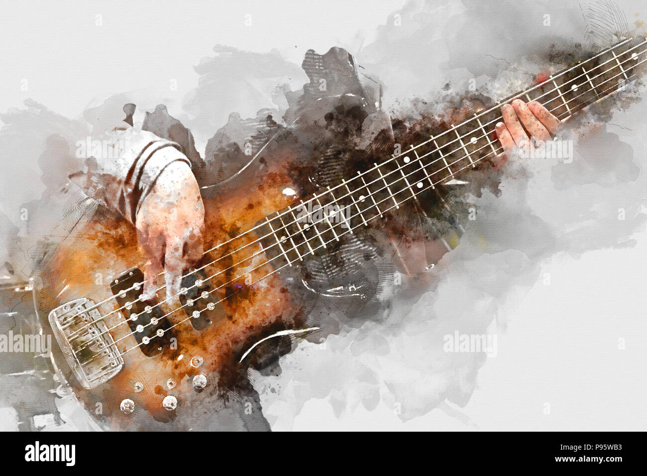 Abstract Beautiful Playing Acoustic Guitar In The Foreground On
