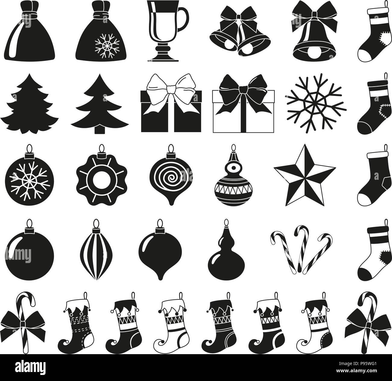 black and white 32 christmas elements silhouette set new year holiday decorations vector illustration for icon logo sticker patch label badge