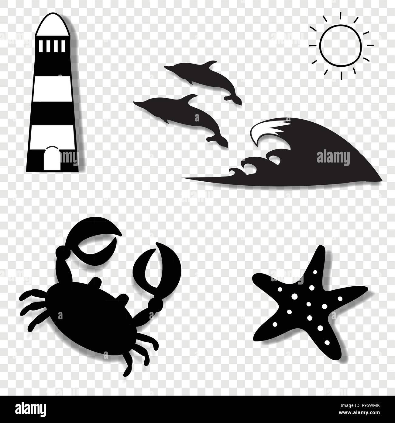 Vector Black And White Silhouette Illustration Of Summer
