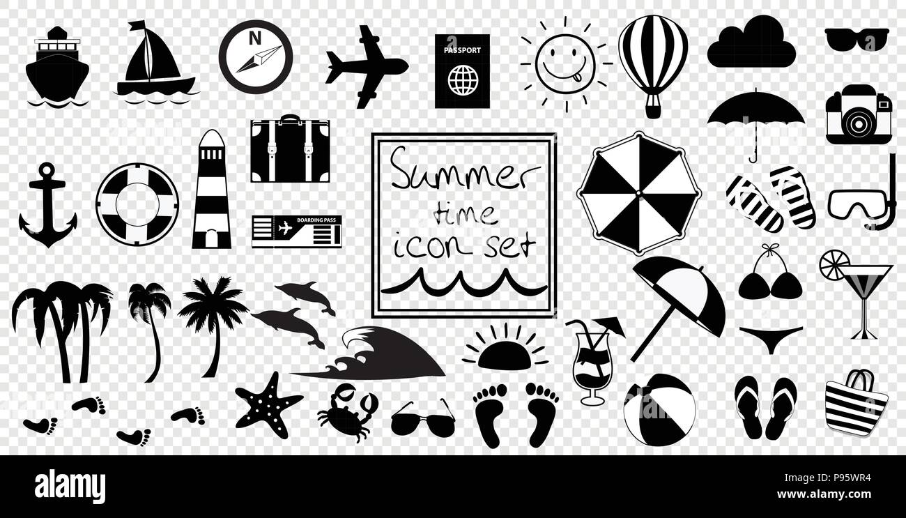 Vector black and white summer travel or vacation beach big icon set isolated on transparent background monochrome clip art icons for design simple s