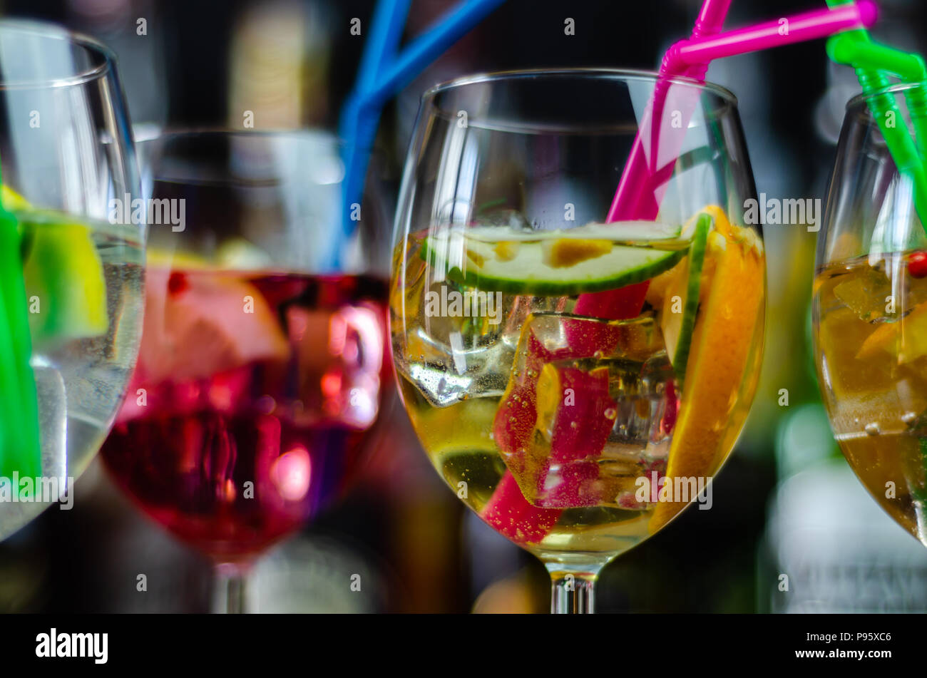 fresh and refreshing cocktails based on gin, a distinctive herbal flavor, bar - Stock Image