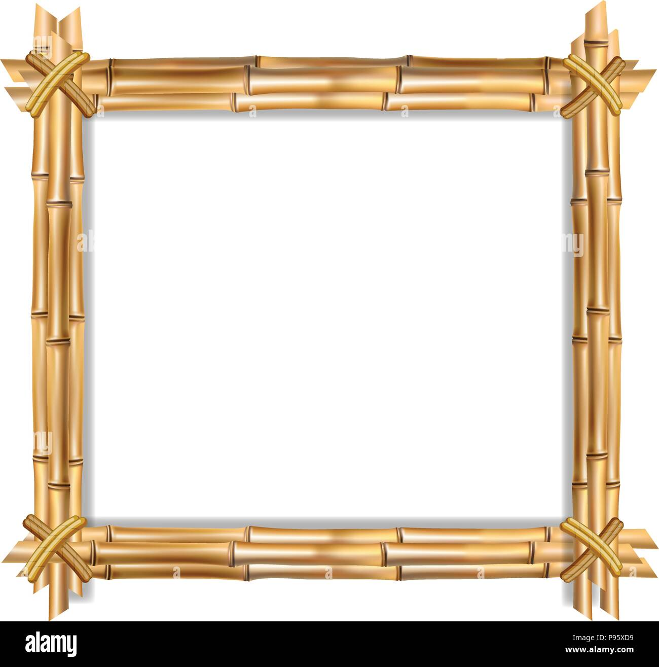 Square Brown Wooden Border Frame Made Of Realistic Bamboo Sticks With Empty Copy Space For Text Or Image Inside Vector Clip Art Banner Poster