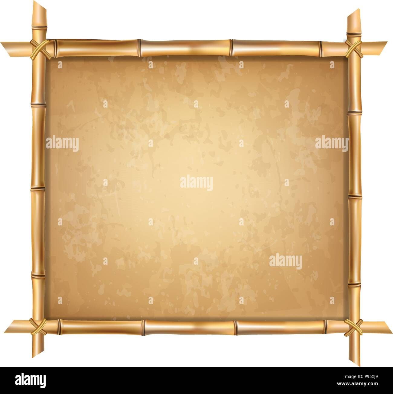 Wooden frame made of brown bamboo sticks with higly detailed vintage ...