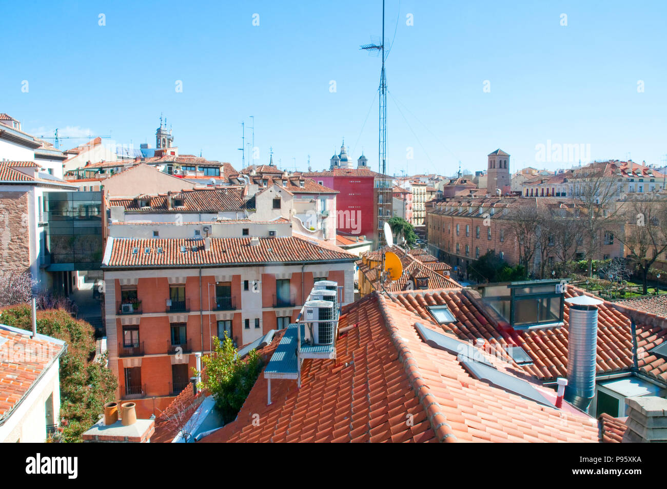 Roofs of Austrias district. Madrid, Spain. - Stock Image