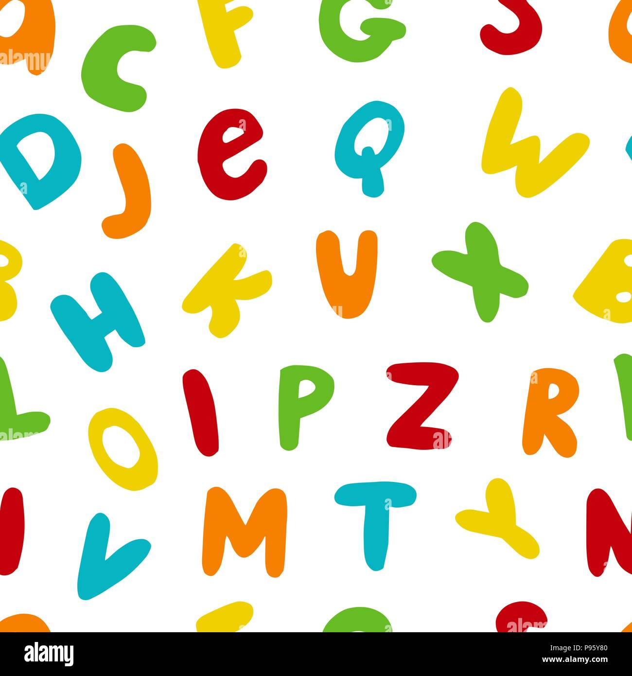 Vector seamless pattern with hand drawn english letters - Stock Image