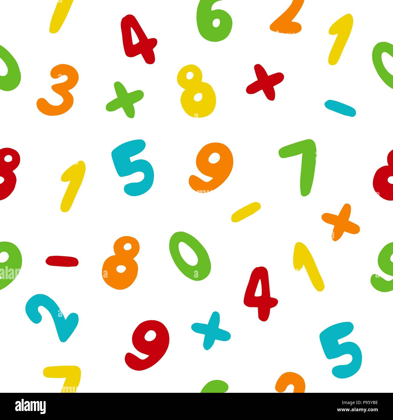 Vector seamless pattern with hand drawn colorful numbers - Stock Image