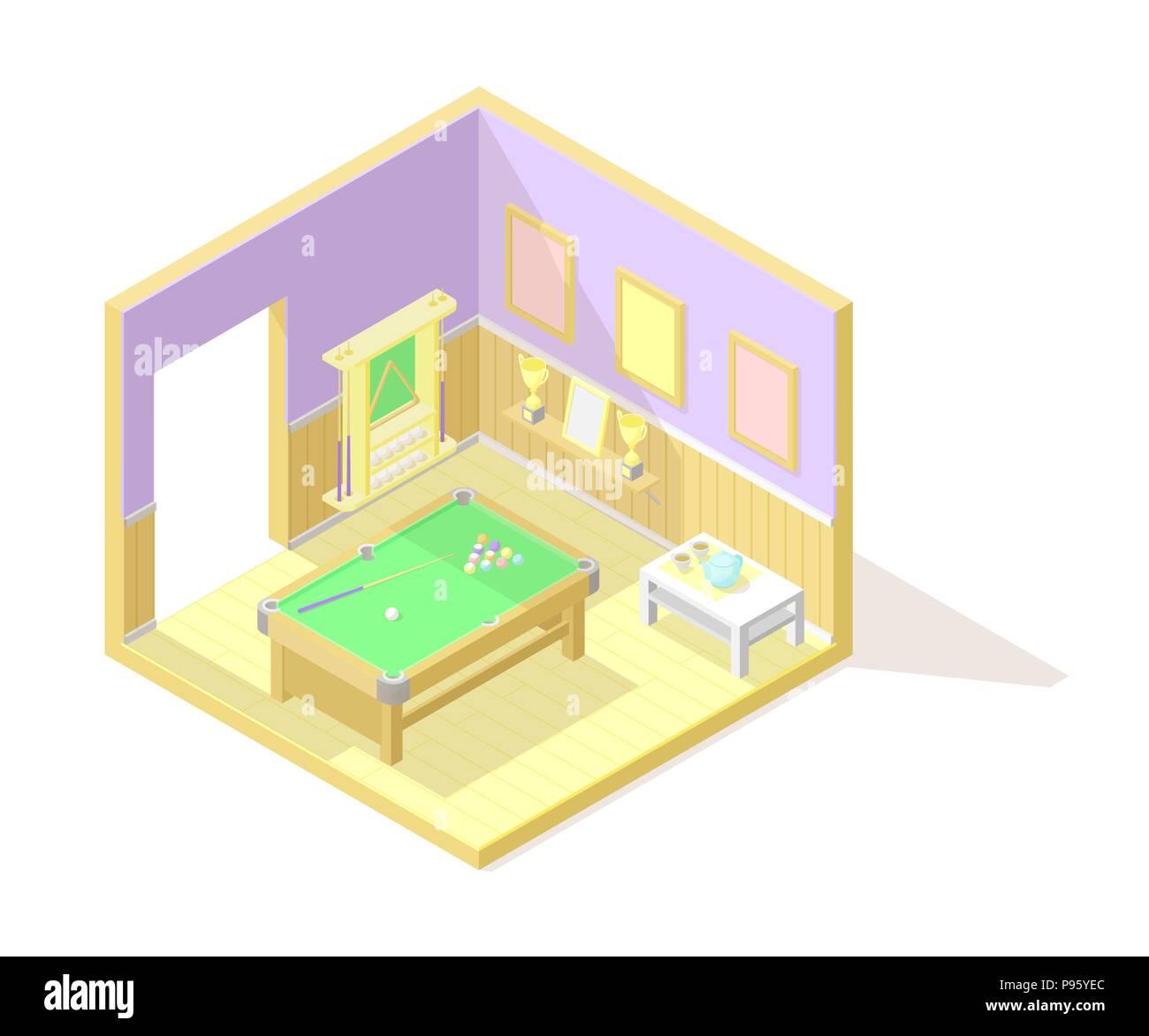 Vector isometric low poly cutaway interior illustartion. Billiard or pool room - Stock Vector