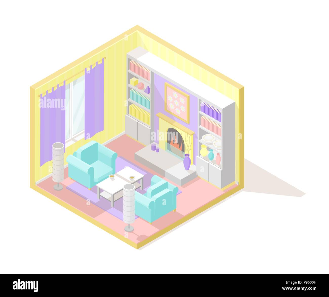 Vector isometric low poly cutaway interior illustartion. Living room - Stock Vector