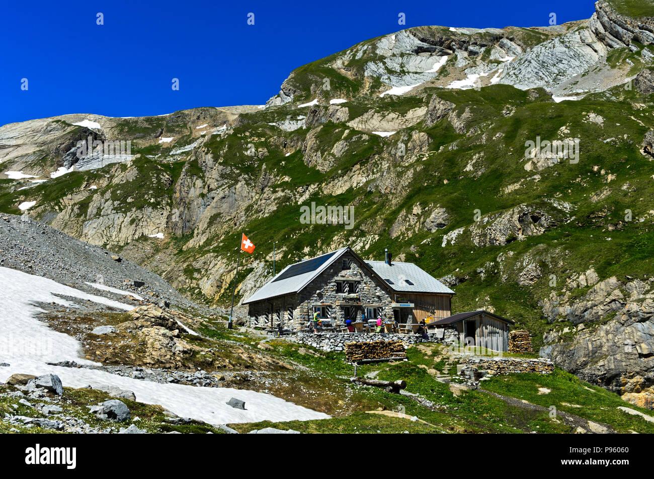 Mountain hut Wildhornhütte of the Swiss Alpin Club, Bernese Alps, Lenk, Switzerland - Stock Image
