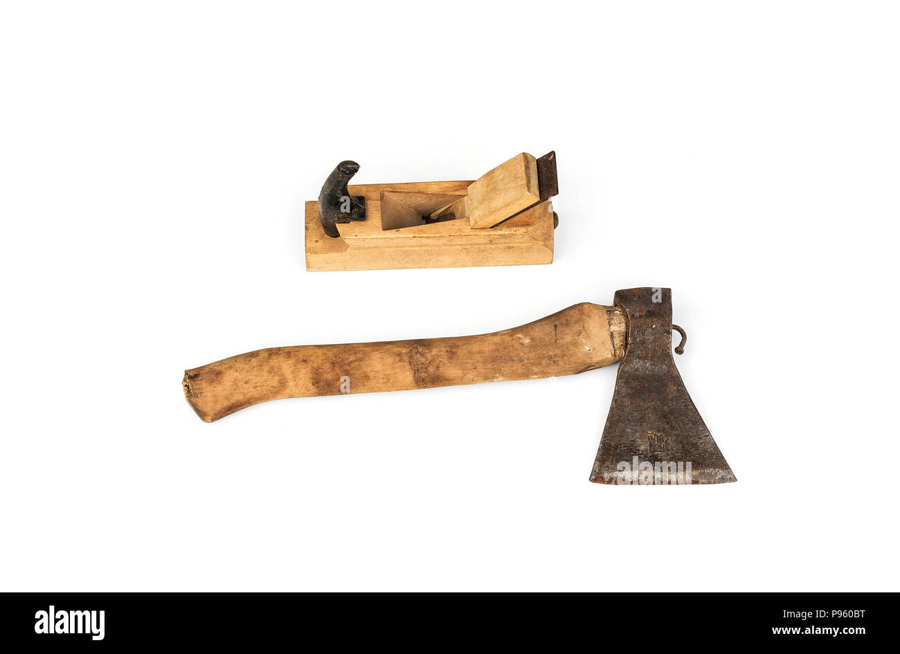 Joiner's tools. Ax and plane planes close-up on a white background. - Stock Image