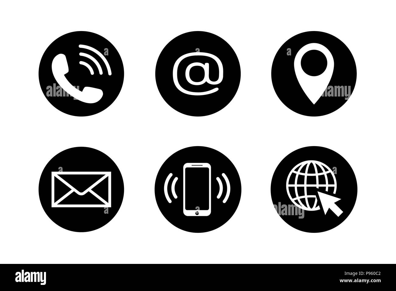 Contact Icon Set In Flat Style Stock Vector Art