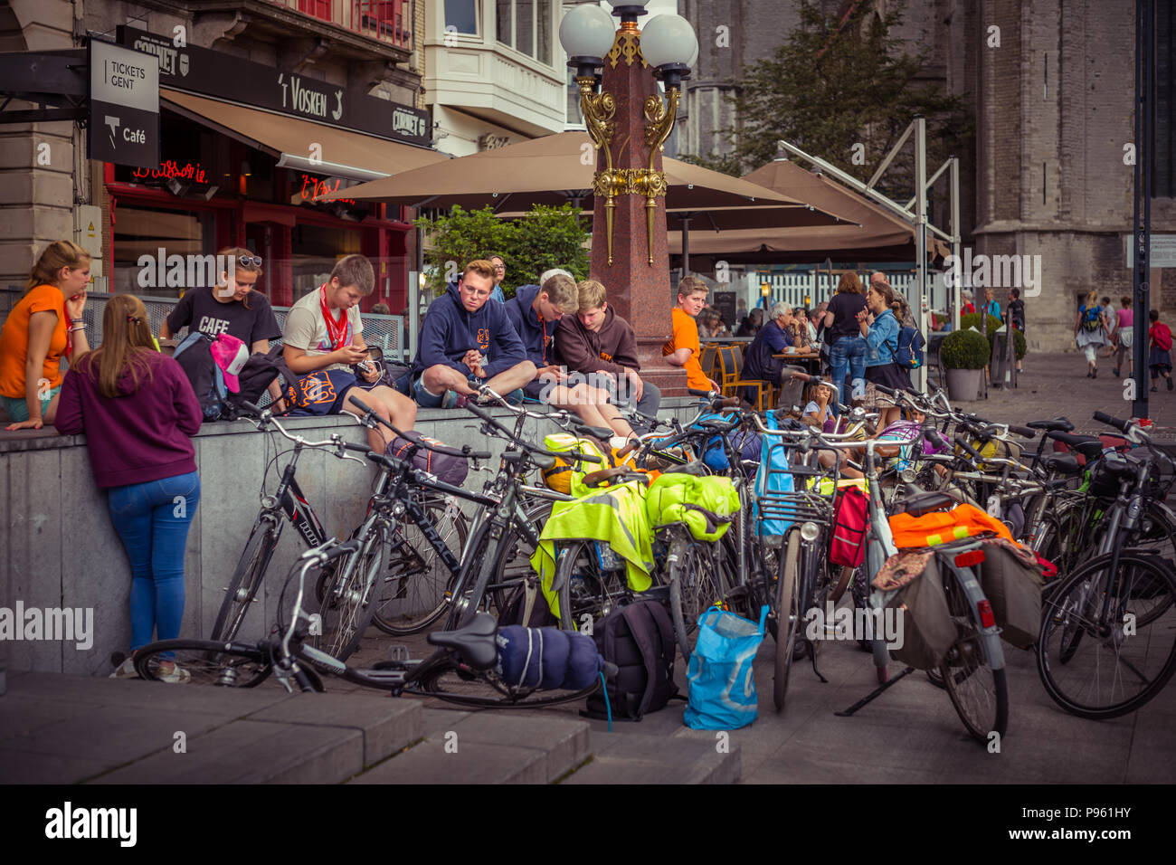 A group of young bicyclists in Ghent - Stock Image