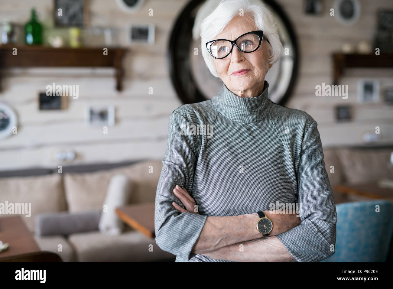 Elegant senior lady - Stock Image