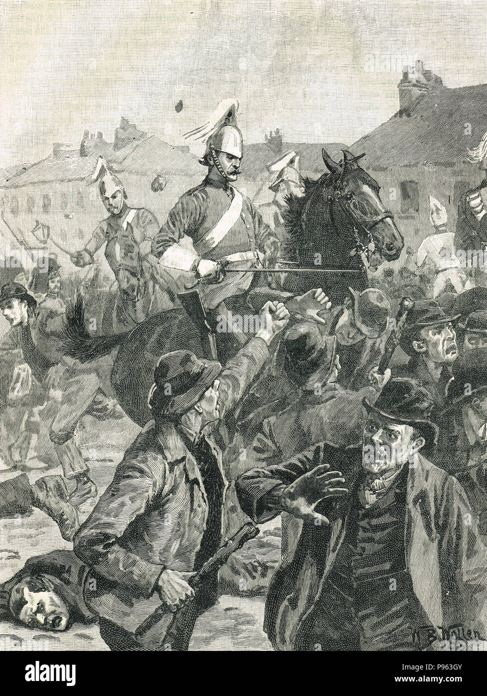 Belfast riots August 1872. The 4th Dragoon Guards, and the 78th Highlanders, separating Catholic and Protestant communities during sectarian violence - Stock Image