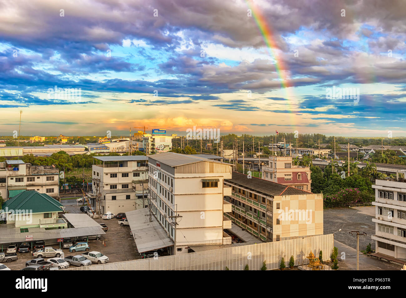 Chachoengsao, Thailand - Nov 22, 2017: Rainbow over the town of Chachoengsao, in south-central Thailand, east of Bangkok. It's an agricultural hub cen - Stock Image