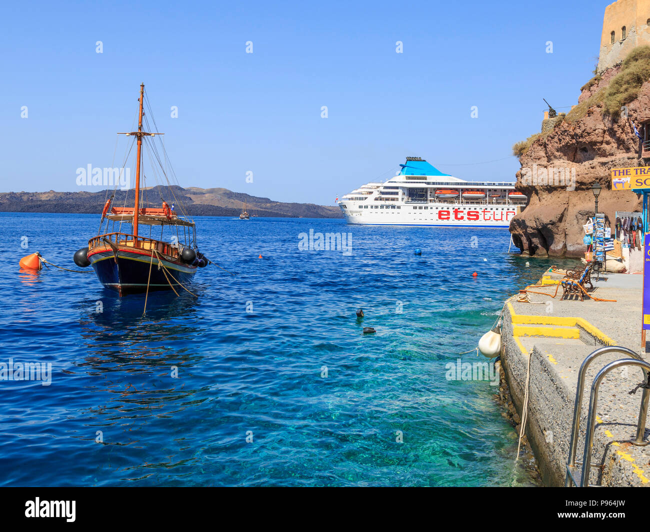 Santorini, Greece - July 6, 2018 : View of ETS tur cruise ship from  port of Fira, Santorini island, Greece - Stock Image
