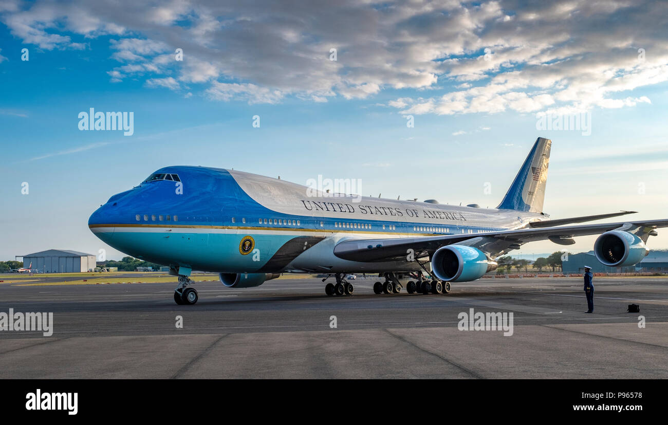 Prestwick Airport, Scotland, UK. 13 July, 2018. President Donald Trump arrives on Air Force One at Prestwick Airport in Ayrshire ahead of a weekend at - Stock Image