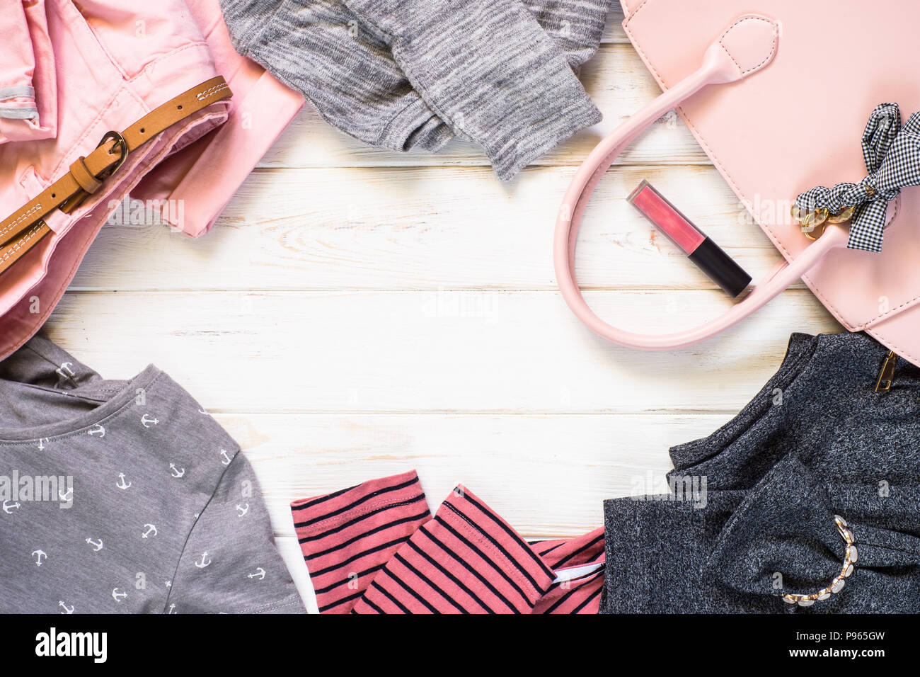 830dd80a9334 Woman clothes and accessories in pink and gray colors - top