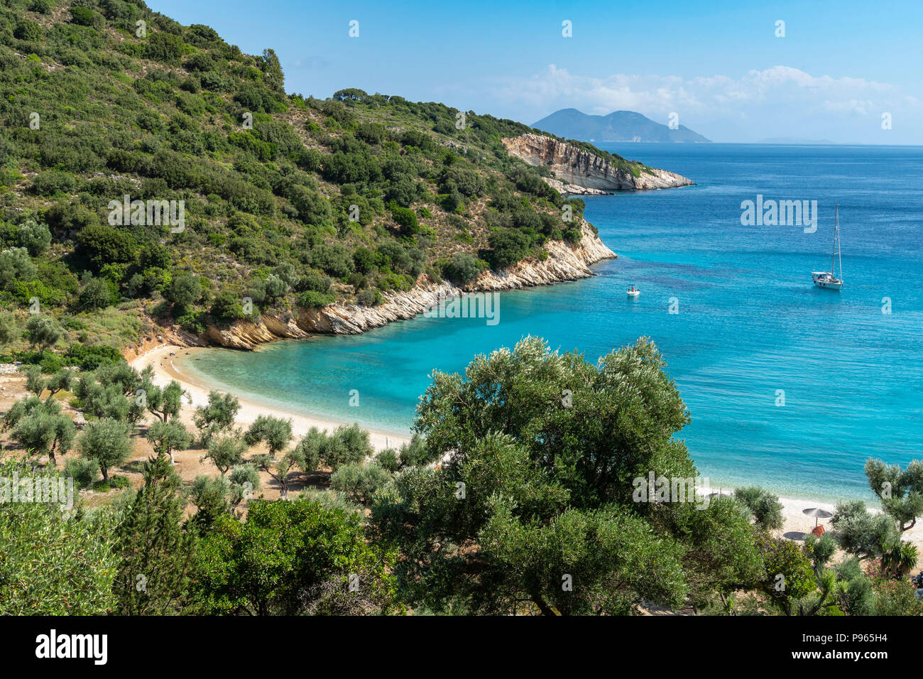 Yacht at anchor at Filiatro beach. On the East coast of the  island of Ithaca, Ionian Sea, Greece - Stock Image