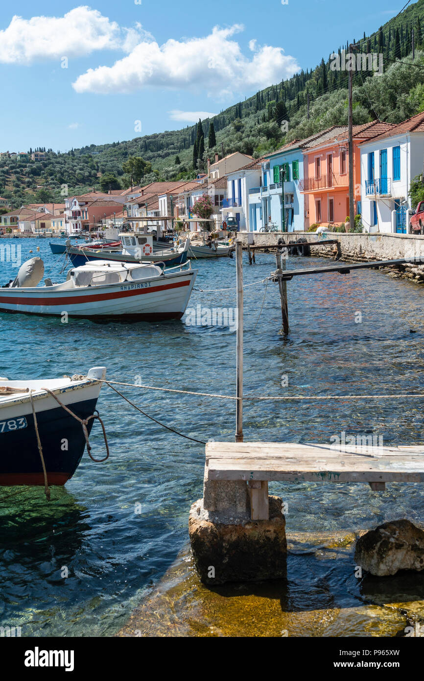 Colourful old houses in the  town of Vathy on the island of Ithaca, Ionian Sea, Greece - Stock Image