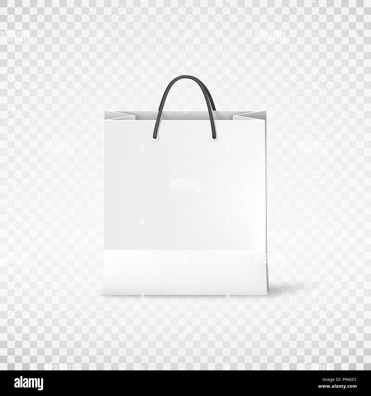 White shopping paper bag. Bag template. Vector illustration isolated ...