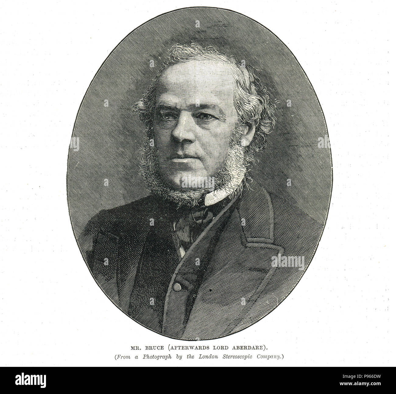 Henry Austin Bruce, 1st Baron Aberdare, British Liberal Party politician, Home Secretary, responsible for the Licensing Act 1872 which made magistrates the licensing authority, increased penalties for misconduct in public-houses, and shortened the number of hours for the sale of drink - Stock Image