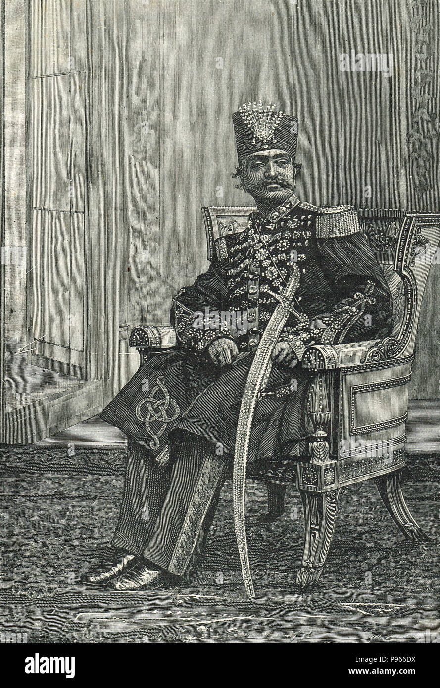 Naser al-Din Shah Qajar, Shah of Persia,  also known as Nassereddin Shah Qajar, was the King of Persia from 5 September 1848 to 1 May 1896 when he was assassinated - Stock Image