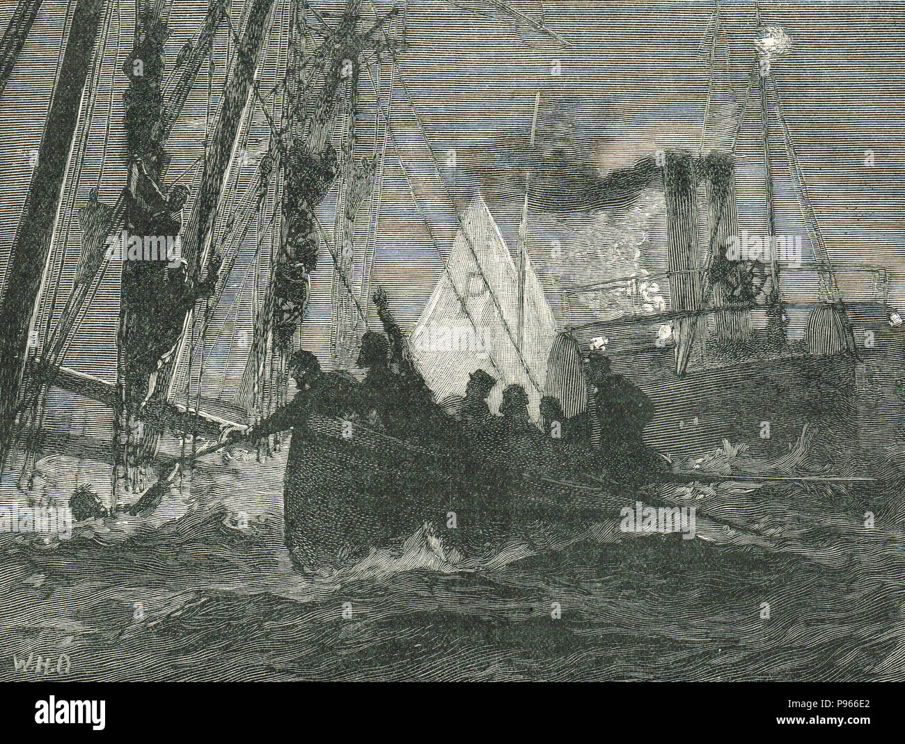 Rescue of the survivors from the sinking of the Blackwall Frigate the Northfleet, 22 January 1873 - Stock Image