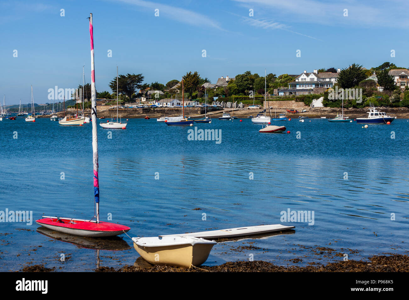 view of st mawes from st anthony in the roseland peninsula cornwall summer - Stock Image