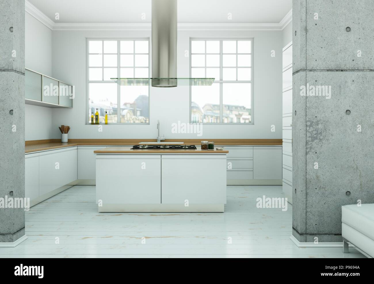 Nordic Kitchen In Loft Apartment Stock Photos & Nordic Kitchen In ...