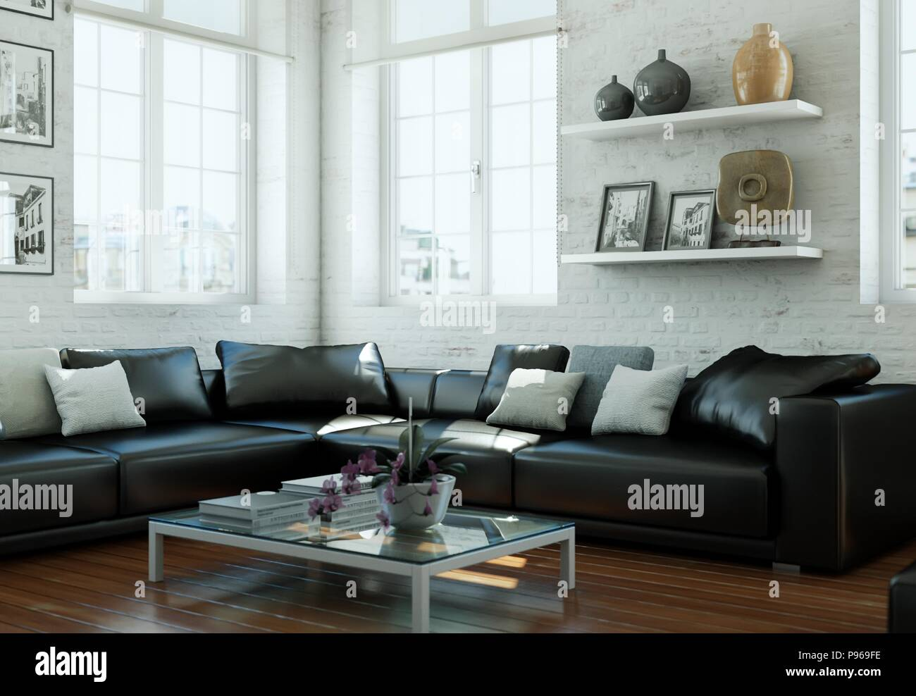 Modern Skandinavian Interior Design Living Room With Black Leather Couch Stock Photo Alamy