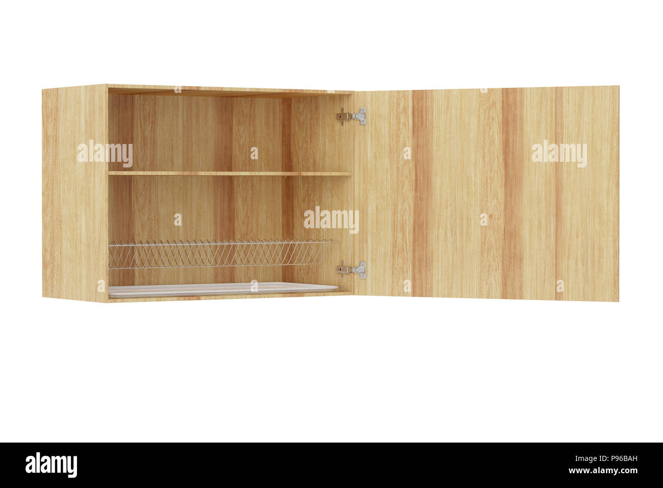Wooden Kitchen Wall Cabinet With Dish Drainer Isolated On