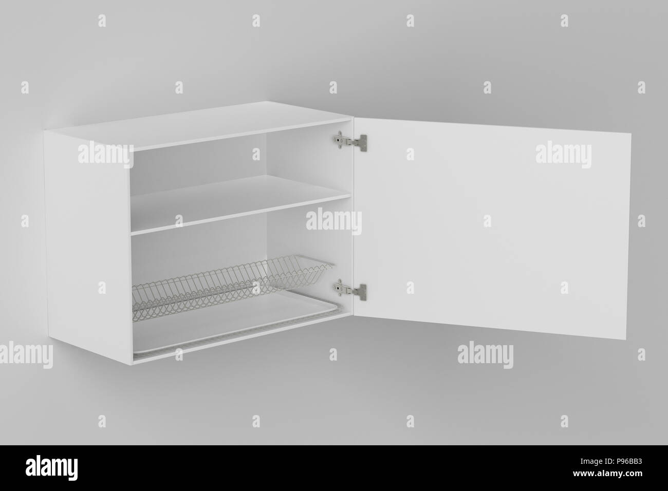 White Kitchen Wall Cabinet With Dish Drainer Isolated On White Wall Include Clipping Path 3d Render Stock Photo Alamy