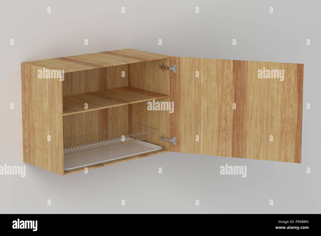 Wooden Kitchen Wall Cabinet With Dish Drainer Isolated On White