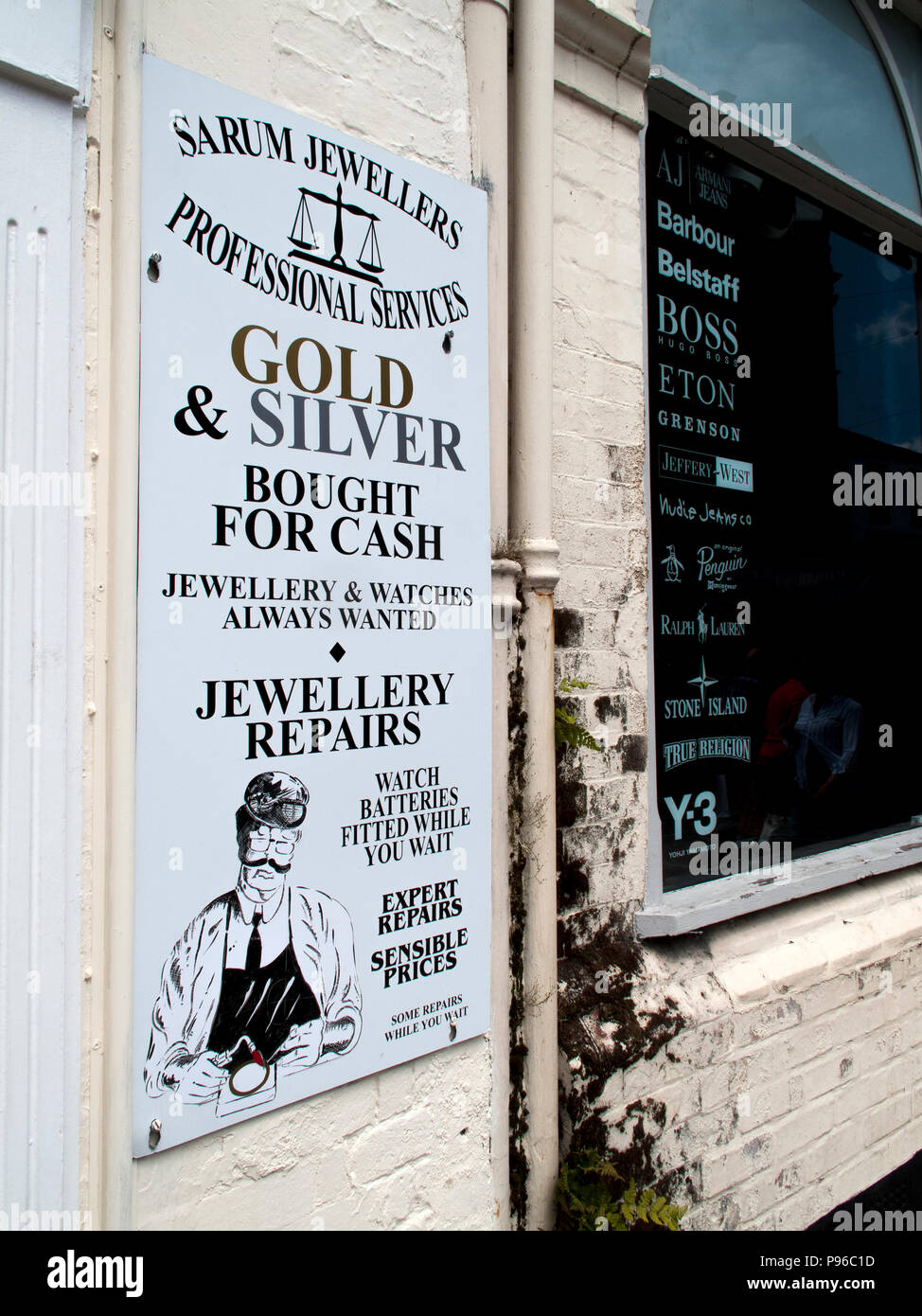 Sarum jewellers Professional Services, repairs in their own workshop advertising board Stock Photo