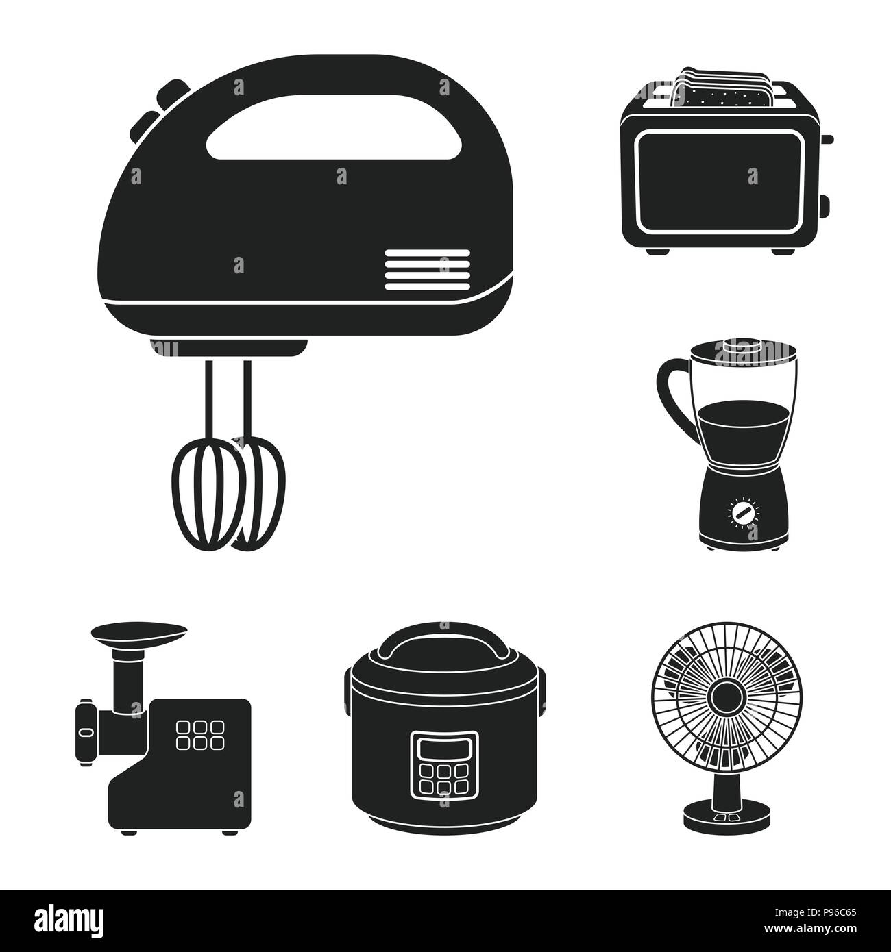 Types of household appliances black icons in set collection for ...