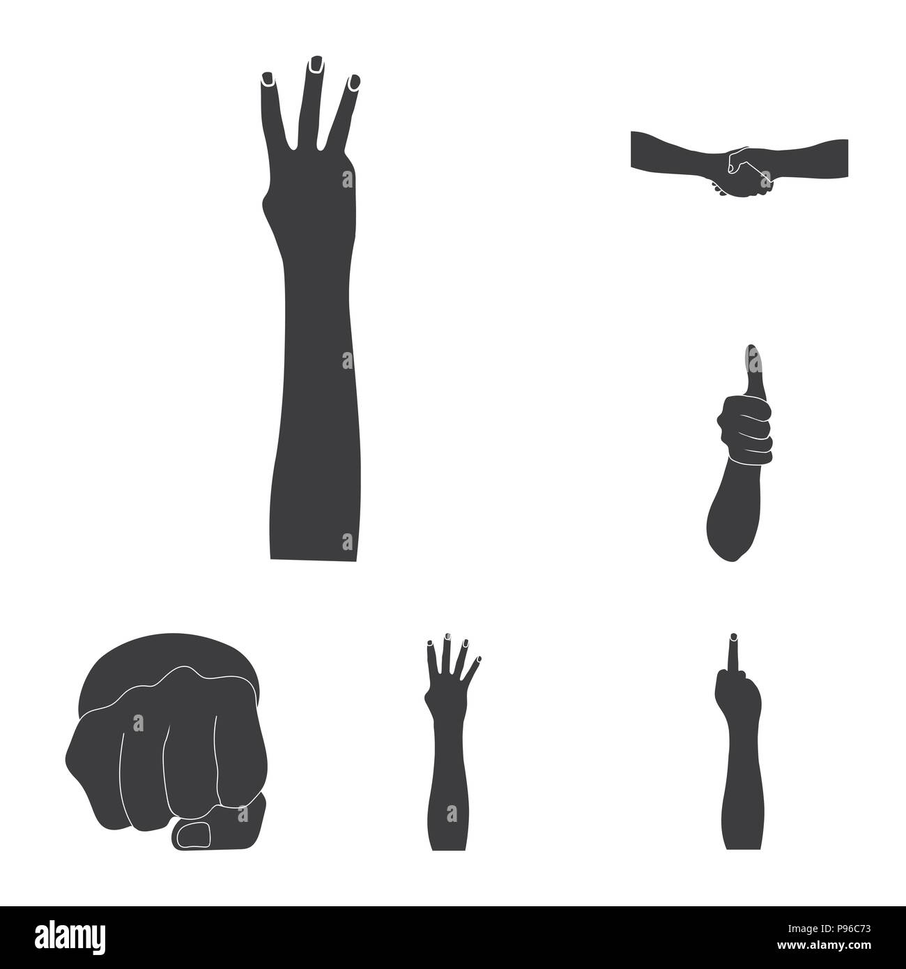 Gestures And Their Meaning Black Icons In Set Collection For Design