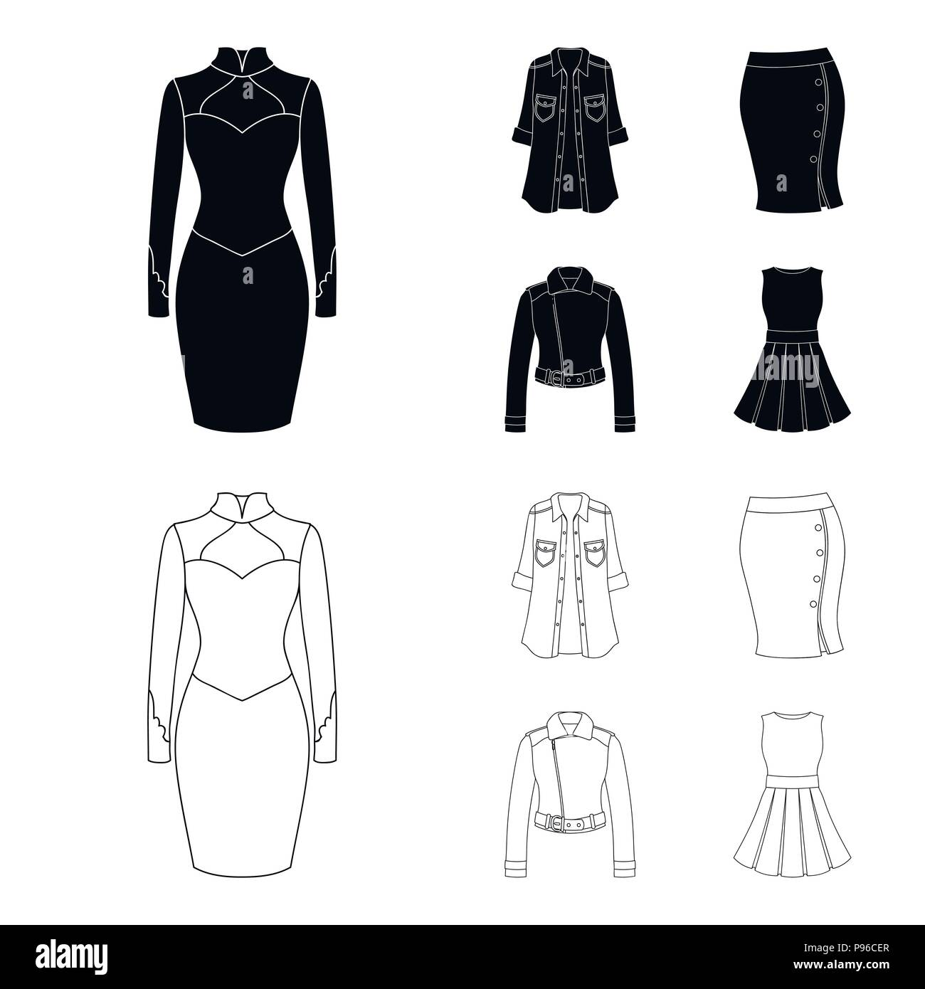 970124f688c Women Clothing black,outline icons in set collection for design ...
