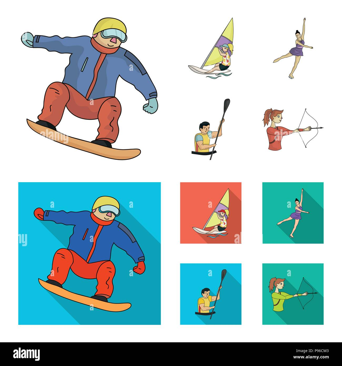 Snowboarding, sailing surfing, figure skating, kayaking. Olympic sports set collection icons in cartoon,flat style vector symbol stock illustration . - Stock Vector